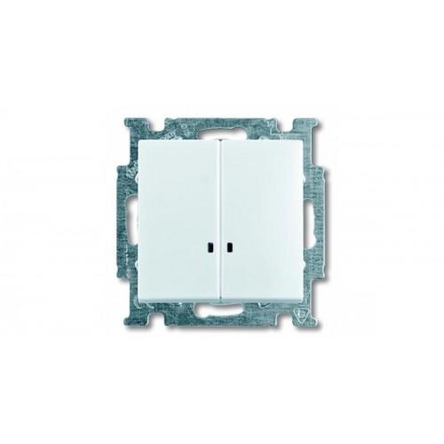 Выключатель двухклавишный с подсветкой (альпийский белый) 1012-0-2154 Basic 55