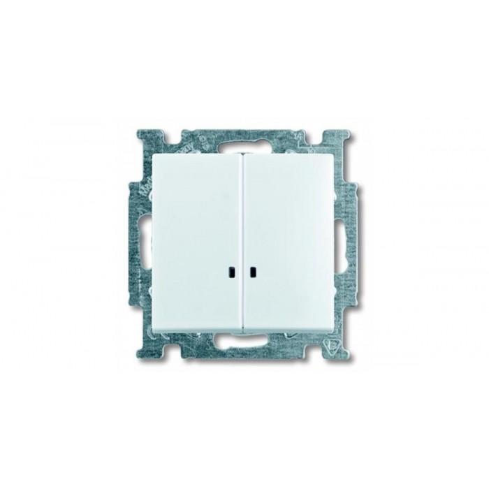1Выключатель двухклавишный с подсветкой (белый) 1012-0-2154 Basic 55