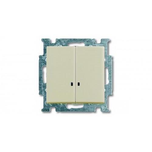 Выключатель двухклавишный с подсветкой (сл.кость) 1012-0-2157 Basic 55
