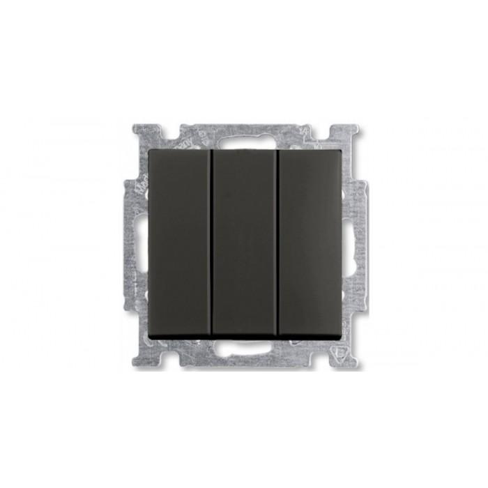 1Выключатель трехклавишный шато-черный 1012-0-2173 Basic 55