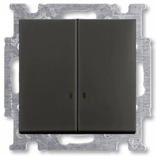 Выключатель двухклавишный с подсветкой (шато-черный) 1012-0-2178 Basic 55