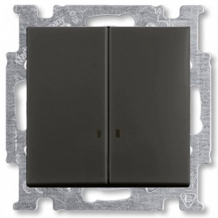 1Выключатель двухклавишный с подсветкой шато-черный 1012-0-2178 Basic 55