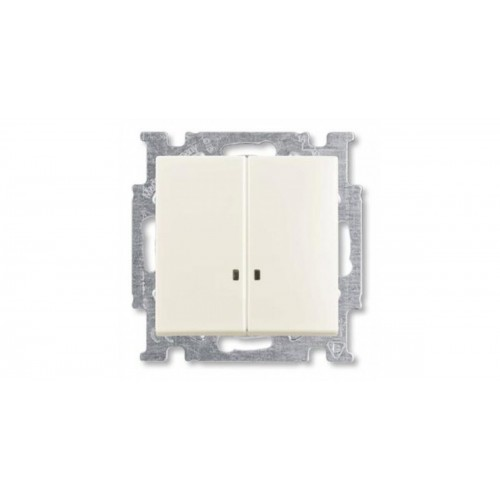 Выключатель двухклавишный с подсветкой (шале-белый) 1012-0-2188 Basic 55