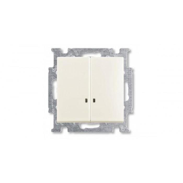 1Выключатель двухклавишный с подсветкой (шале-белый) 1012-0-2188 Basic 55