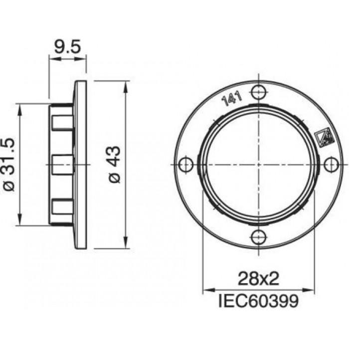 2012422 Arditi Кольцо Е14 10х43мм широкое белый