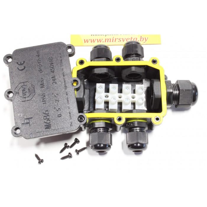 2Водонепроницаемая cоединительная коробка, LD526, 450V, 140х100х36, черный