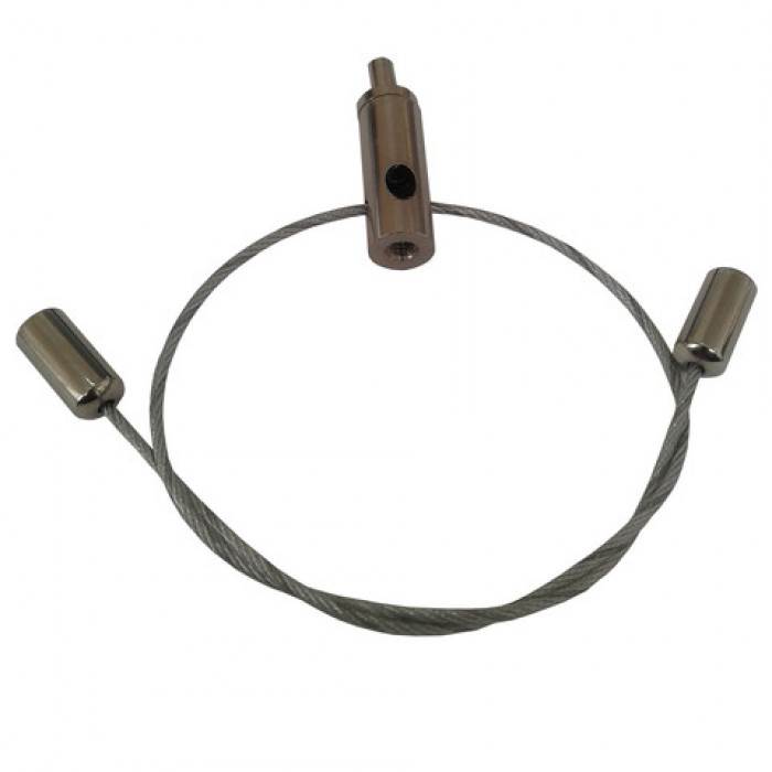 """1Тросовая Y система с цанговым зажимом и двумя держателями троса """"коромысло"""", цвет никель RO-01 NI"""