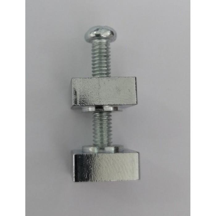 2SET01 CH Крепление для плоского стекла, состоящее из винта М4 l=27,3мм +2 квадратные гайки 11х11 мм, хром