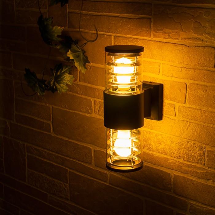 2Светильник уличный настенный, бра уличное 1407 TECHNO черный