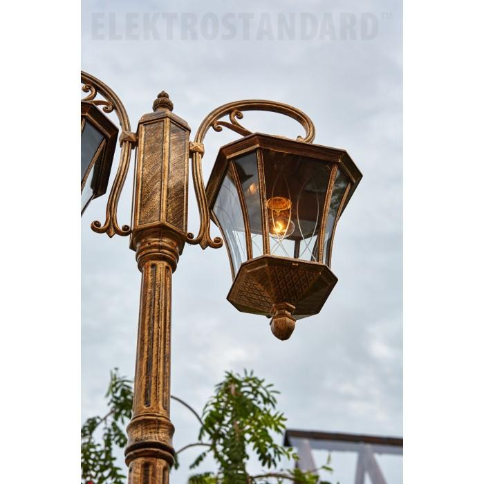 21450F/2 Virgo F/2 черное золото уличный двухрожковый светильник на столбе IP44 Электростандарт
