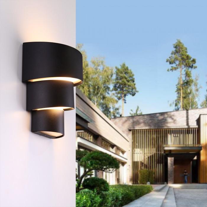 21535 TECHNO LED Helix черный уличный настенный светодиодный светильник Электростандарт