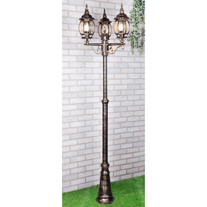 2Уличный трехрожковый светильник NLG99HL005 черное золото на столбе IP33