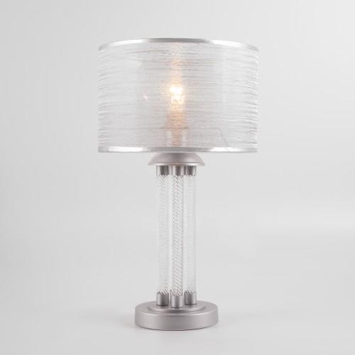 01073/1 серебро EUROSVET Настольная лампа с абажуром