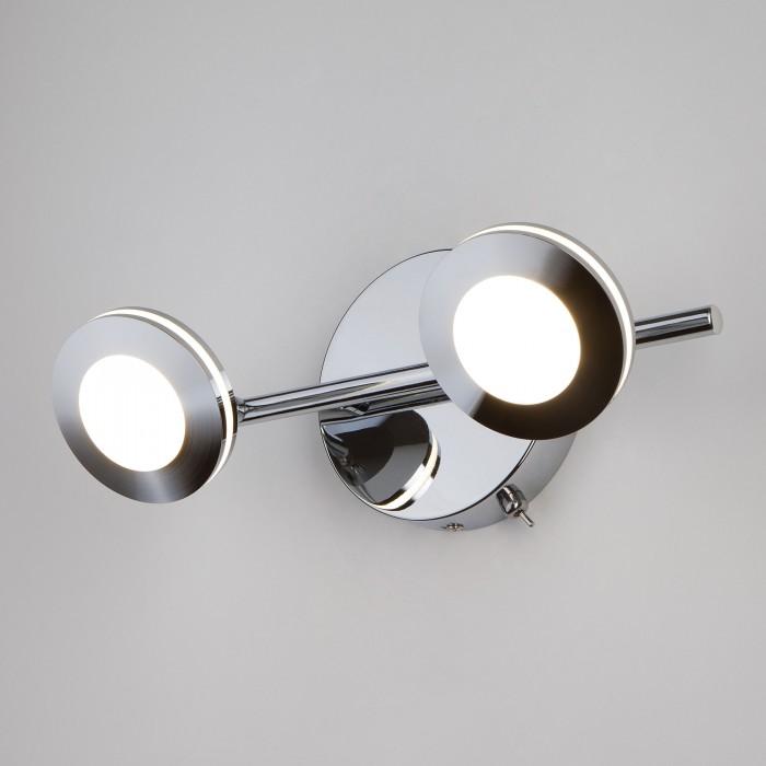 1Светодиодный настенный светильник с поворотными плафонами 20002/2 хром Eurosvet