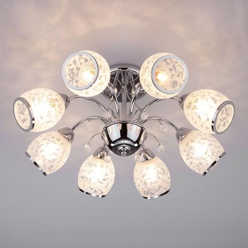 30026/8 хром Потолочная люстра со стеклянными плафонами ЕВРОСВЕТ