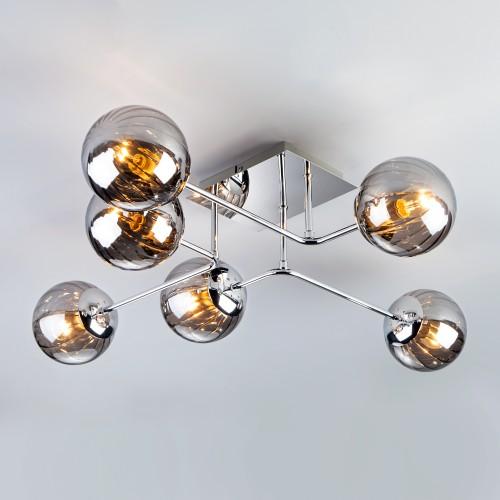 30140/6 хром Потолочный светильник с круглыми стеклянными плафонами ЕВРОСВЕТ