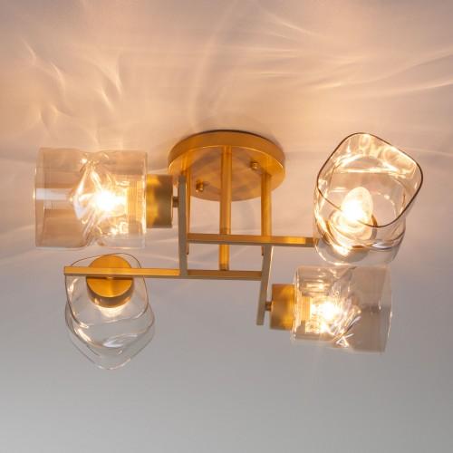 30165/4 перламутровое золото Потолочная люстра со стеклянными плафонами ЕВРОСВЕТ