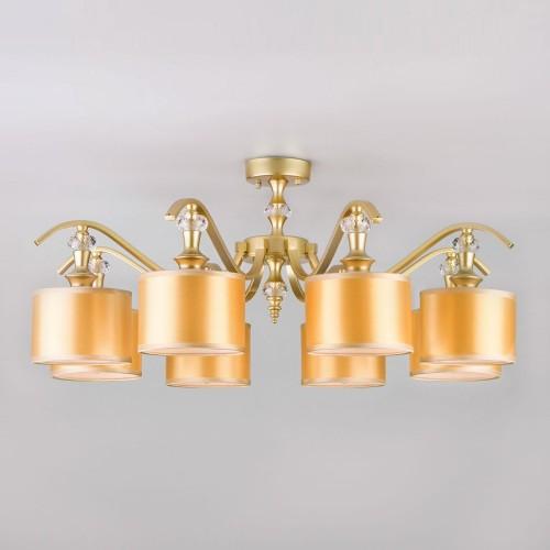 60070/8 перламутровое золото EUROSVET Потолочная люстра с золотистыми абажурами
