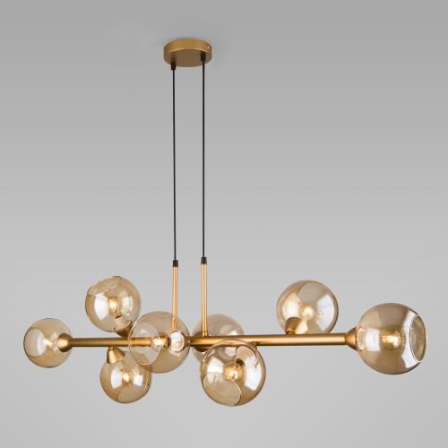 70113/8 янтарный EUROSVET Подвесной светильник с круглыми стеклянными плафонами