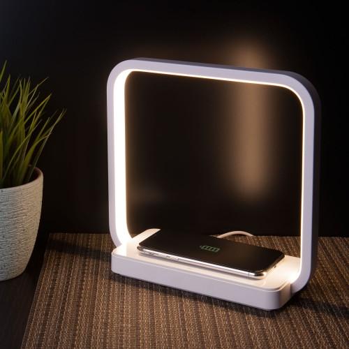 80502/1 белый EUROSVET Светодиодная настольная лампа с беспроводной зарядкой QI