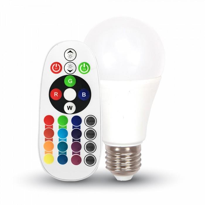 1Светодиодная лампа RGB С ПУЛЬТОМ V-TAC 6 ВТ, 470LM, А60, Е27, 4000К