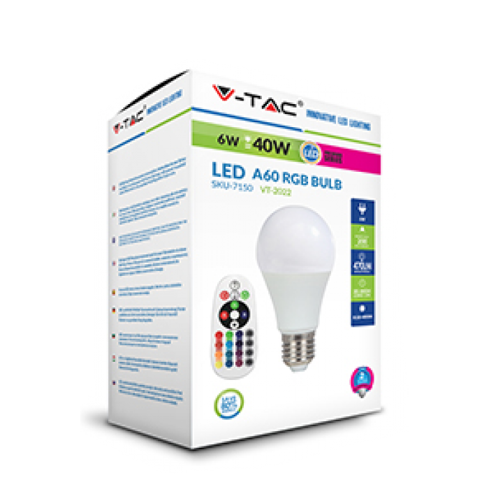 2Светодиодная лампа RGB С ПУЛЬТОМ V-TAC 6 ВТ, 470LM, А60, Е27, 4000К