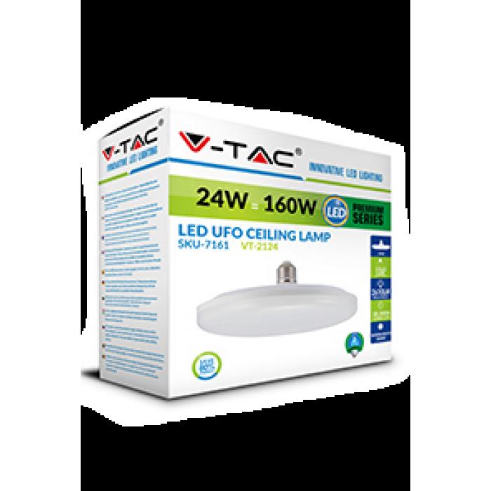 2Светодиодная лампа V-TAC 24 ВТ, 2610 LM, UFO F200, Е27, 4000К