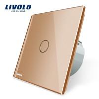 Сенсорный выключатель LIVOLO на 1 линию с панелью золотой