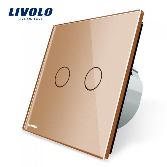 1Сенсорный Выключатель Livolo с панелью золотой