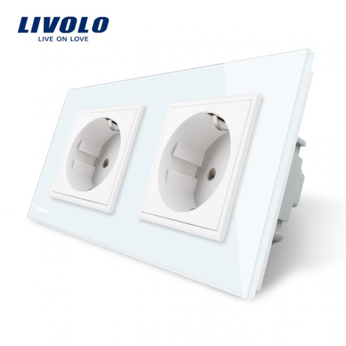 1Розетка Livolo на 2 поста с рамкой белая