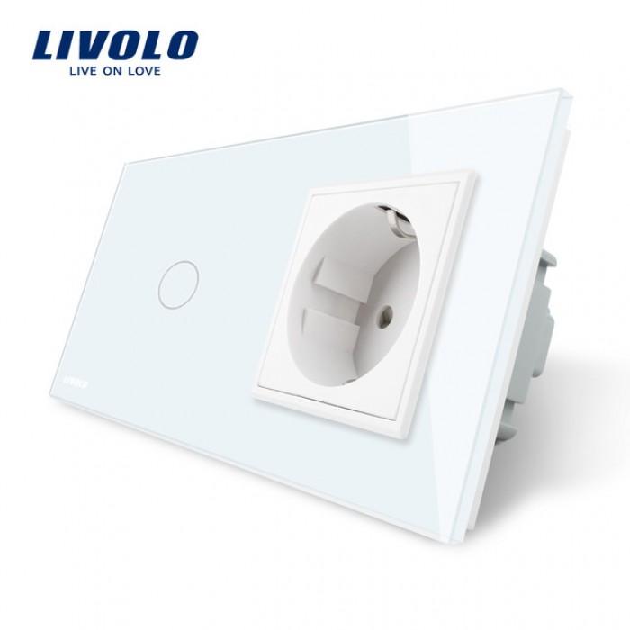 1Сенсорный Выключатель Livolo комбинированный на 1 ЛИНИЮ+1 розетка белый