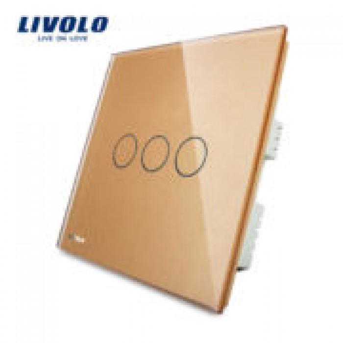 1Сенсорный Выключатель Livolo на 3 линии золотой