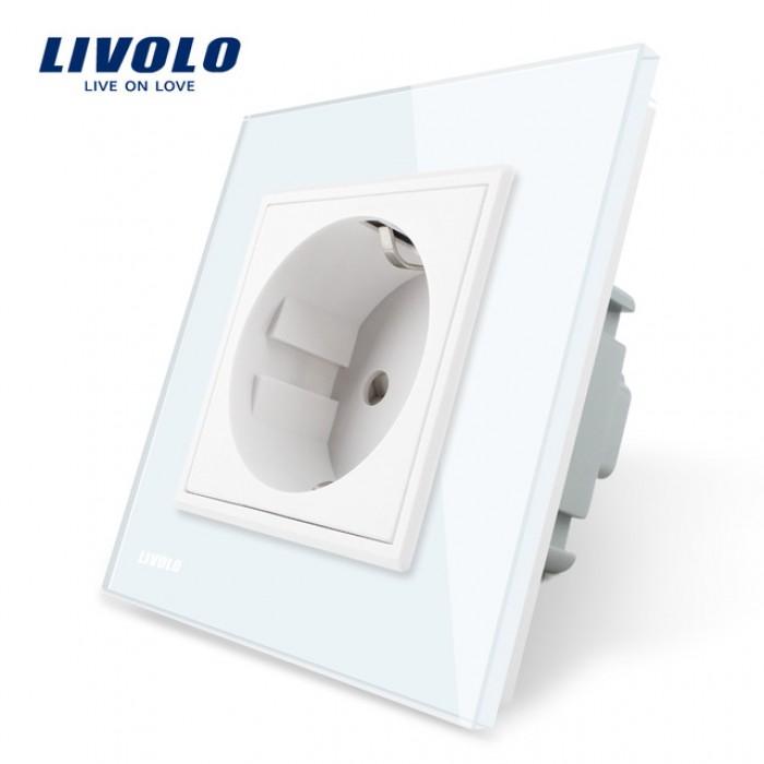 1Розетка Livolo однопостовая с рамкой белая