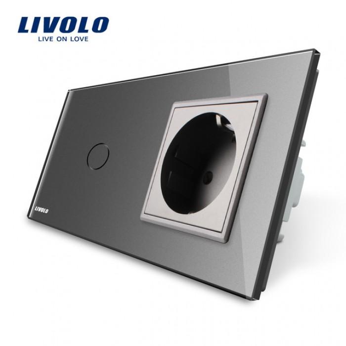 1Сенсорный Выключатель Livolo комбинированный на 1 ЛИНИЮ +1 розетка СЕРЫЙ