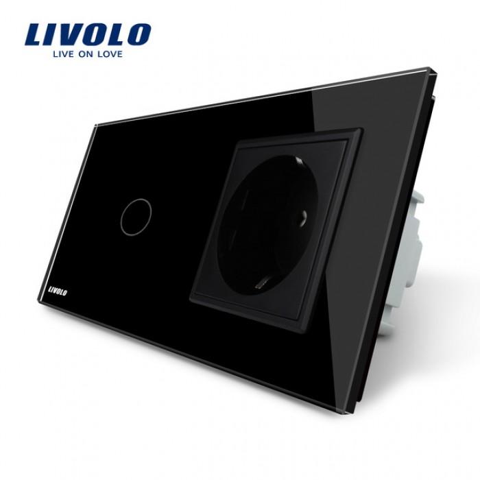 1Сенсорный Выключатель Livolo комбинированный на 1 ЛИНИЮ+1 розетка черный