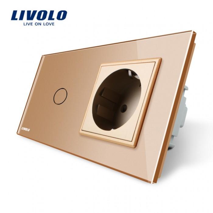1Сенсорный Выключатель Livolo комбинированный на 1 ЛИНИЮ +1 розетка золотой