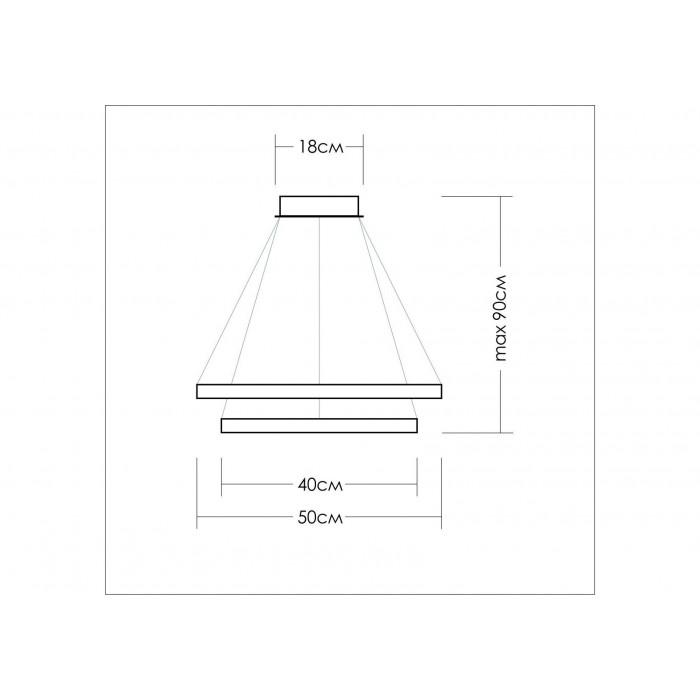 2Подвесной светодиодный светильник из двух колец диаметром 30 и 40 см TLRU2-40/50-01 Лючера