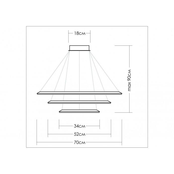 2Подвесная светодиодная люстра из квадратов 34, 52 и 70 см TLCU3-34/52/70-01 Лючера
