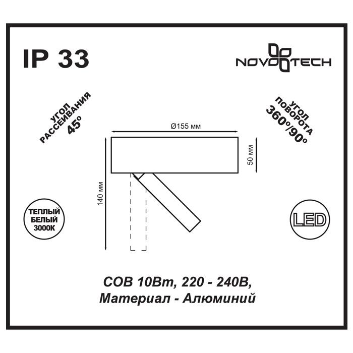 2Накладной светильник 357704 Razzo Novotech