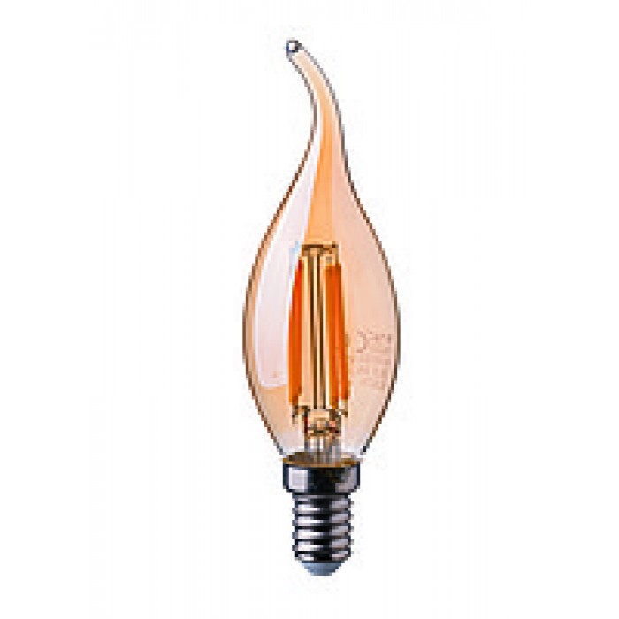 1Филаментная лампа V-TAC 4 ВТ, 350LM, пламя свечи, янтарное стекло, Е14, 2200К