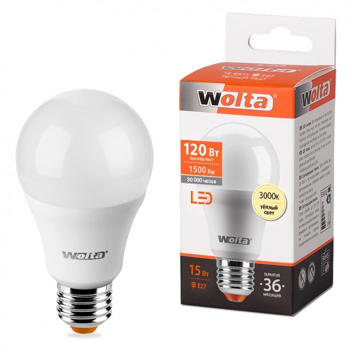 1Светодиодная лампа Wolta 25Y60BL15E27 3000K