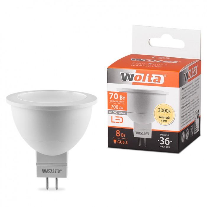 1Светодиодная лампа Wolta 25YMR16-220-8GU5.3 3000K