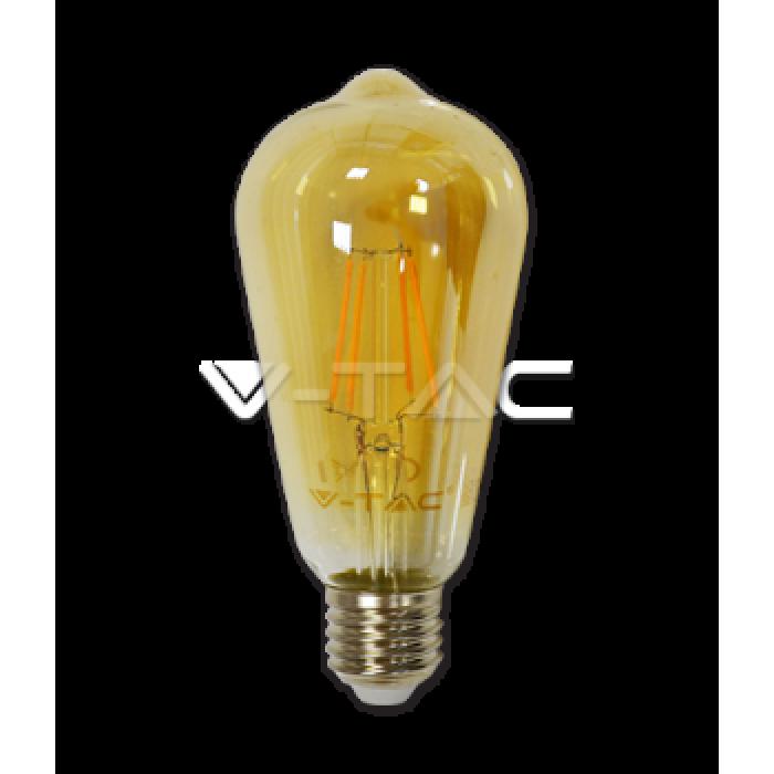 1Филаментная лампа V-TAC 4 ВТ, 350LM, ST64, янтарное стекло, Е27, 2200К
