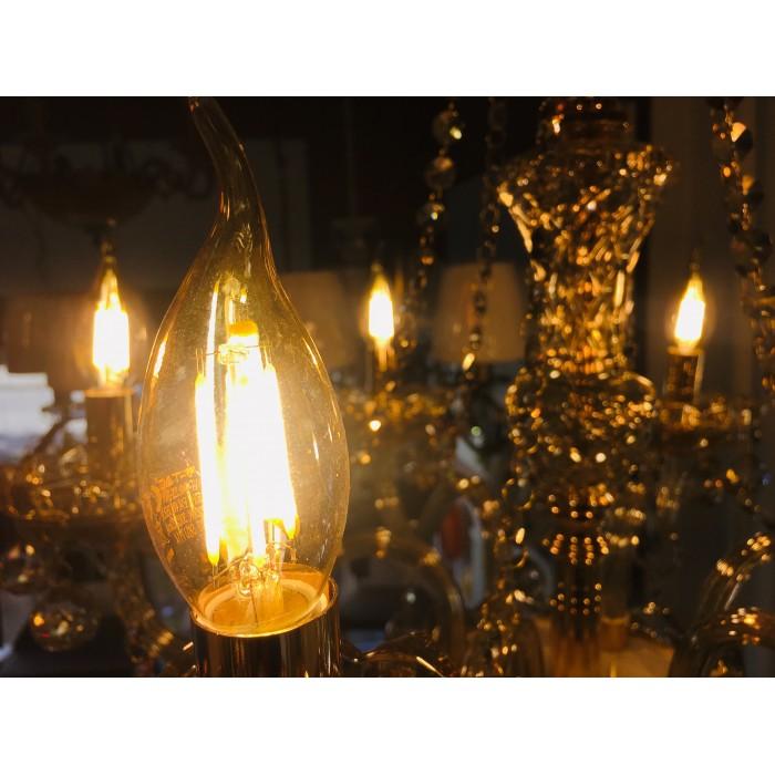 2Филаментная лампа V-TAC 4 ВТ, 350LM, пламя свечи, янтарное стекло, Е14, 2200К