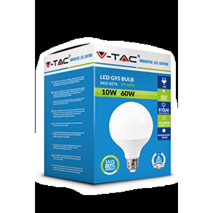 2Светодиодная лампа V-TAC 10 ВТ, 810LM, G95, Е27, 4000К