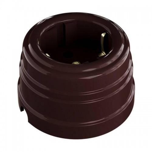 """GE30301-04 Ретро розетка пластиковая с заземляющим контактом, цвет - коричневый. Серия """"Усадьба"""""""
