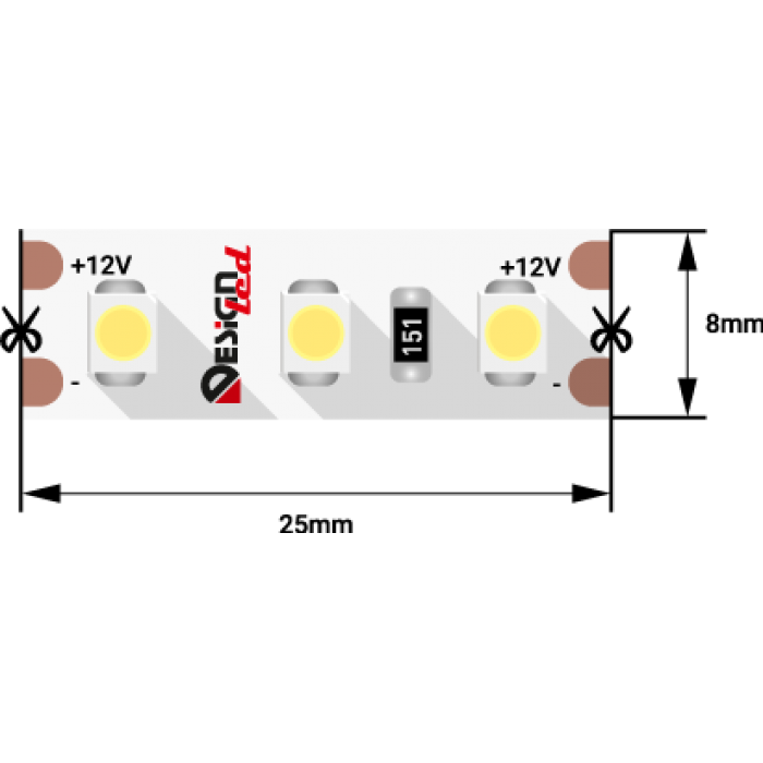 1Лента светодиодная LUX, 3528, 120 LED/м, 9,6 Вт/м, 12В, IP33, Теплый белый (2700K)