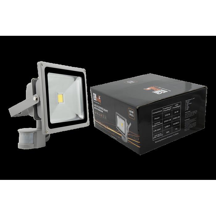 1Прожектор светодиодный с датчиком движения 6500К Холодный белыйK FL-COB-30-CW-S