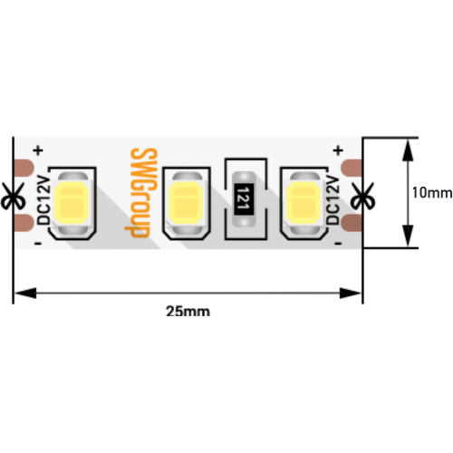 001576 Лента светодиодная стандарт 2835, 120 LED/м, 12 Вт/м, 12В, IP20, Цвет: Теплый белый