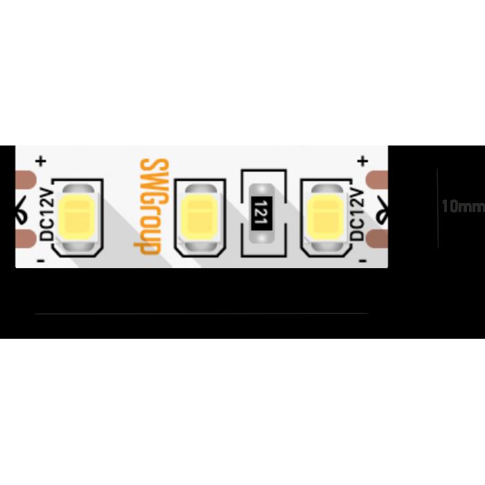 1Лента светодиодная стандарт 2835, 120 LED/м, 12 Вт/м, 12В, IP20, Цвет: Теплый белый
